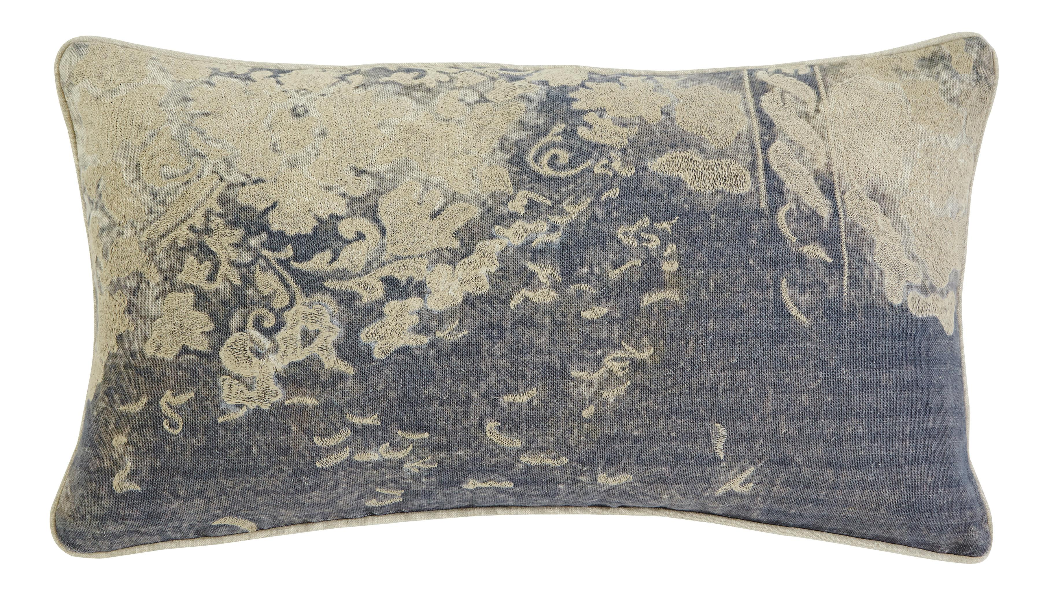 Signature Design by Ashley Pillows Patterned - Gray Lumbar Pillow - Item Number: A1000275P