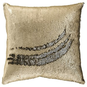 Signature Design by Ashley Pillows Maxandria - Gold/Grey Sequin Pillow Cover
