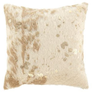 Signature Design by Ashley Pillows Landers Cream/Gold Faux Fur Pillow