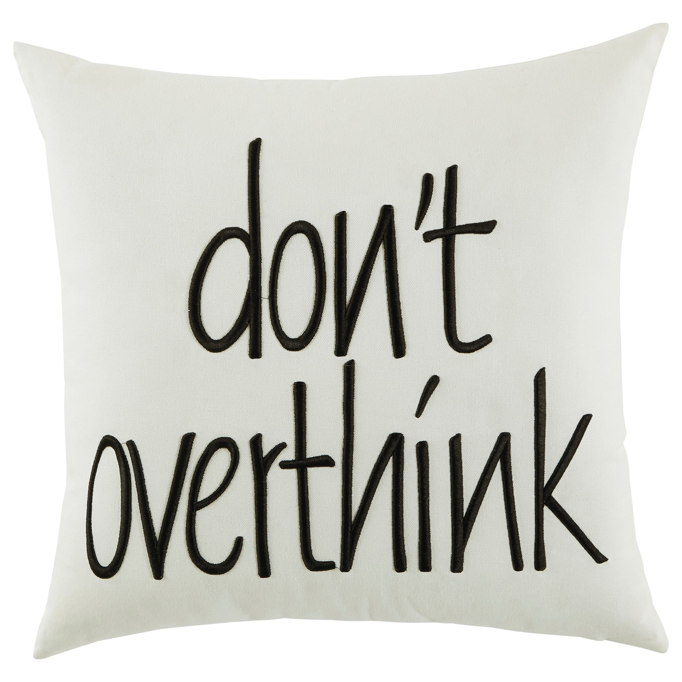 Signature Design by Ashley Pillows Don't Overthink White Pillow - Item Number: A1000728P