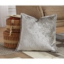 Signature Design by Ashley Pillows Melaney Silver Pillow, Crushed Velvet with Feather Fill