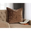 Signature Design by Ashley Pillows Melaney Toffee Pillow, Crushed Velvet with Feather Fill