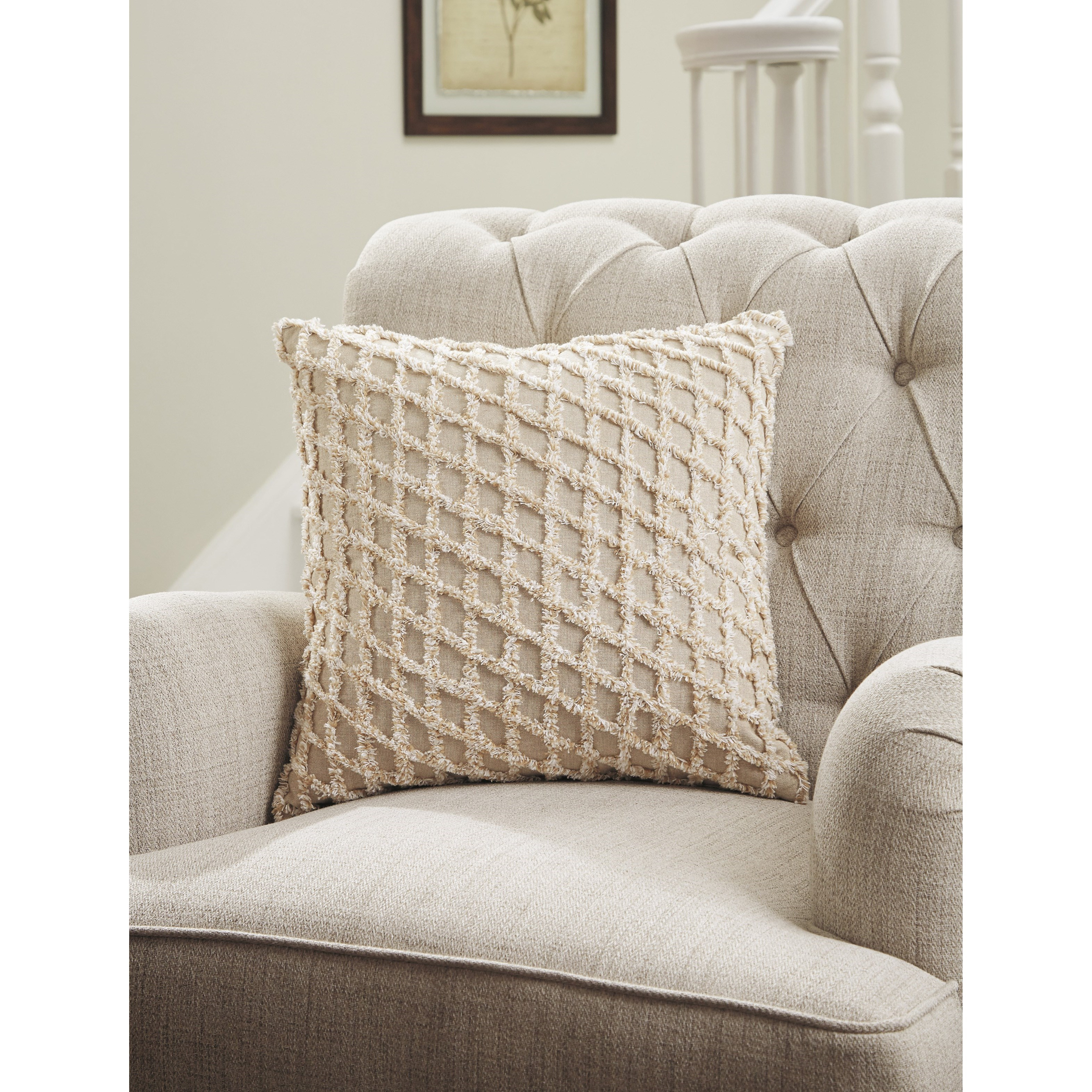 Ashley Signature Design Pillows A1000818P Mayten Tan/White