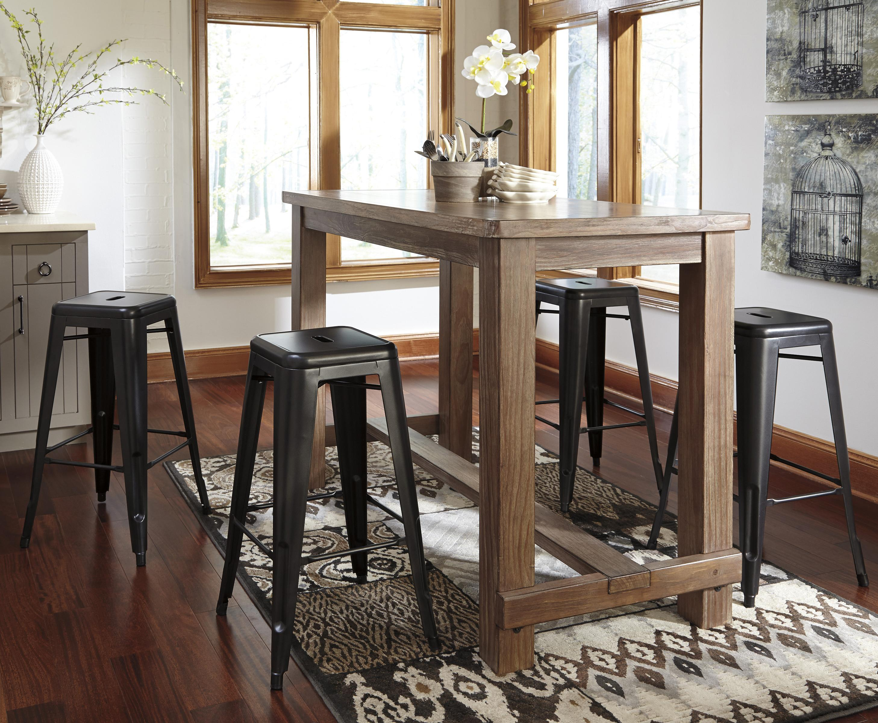 Signature Design by Ashley Pinnadel 5-Piece Bar Table Set - Item Number: D542-12+4x030