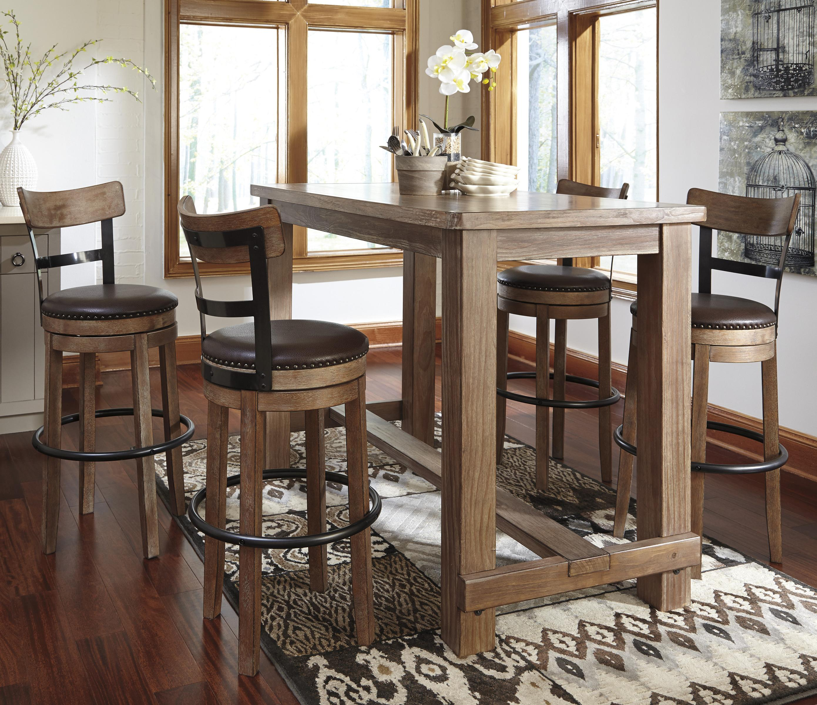 Signature Design by Ashley Pinnadel 5-Piece Bar Table Set - Item Number: D542-12+4x130
