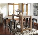 Signature Design by Ashley Pinnadel 5-Piece Counter Table Set with 4 Stackable Metal Stools