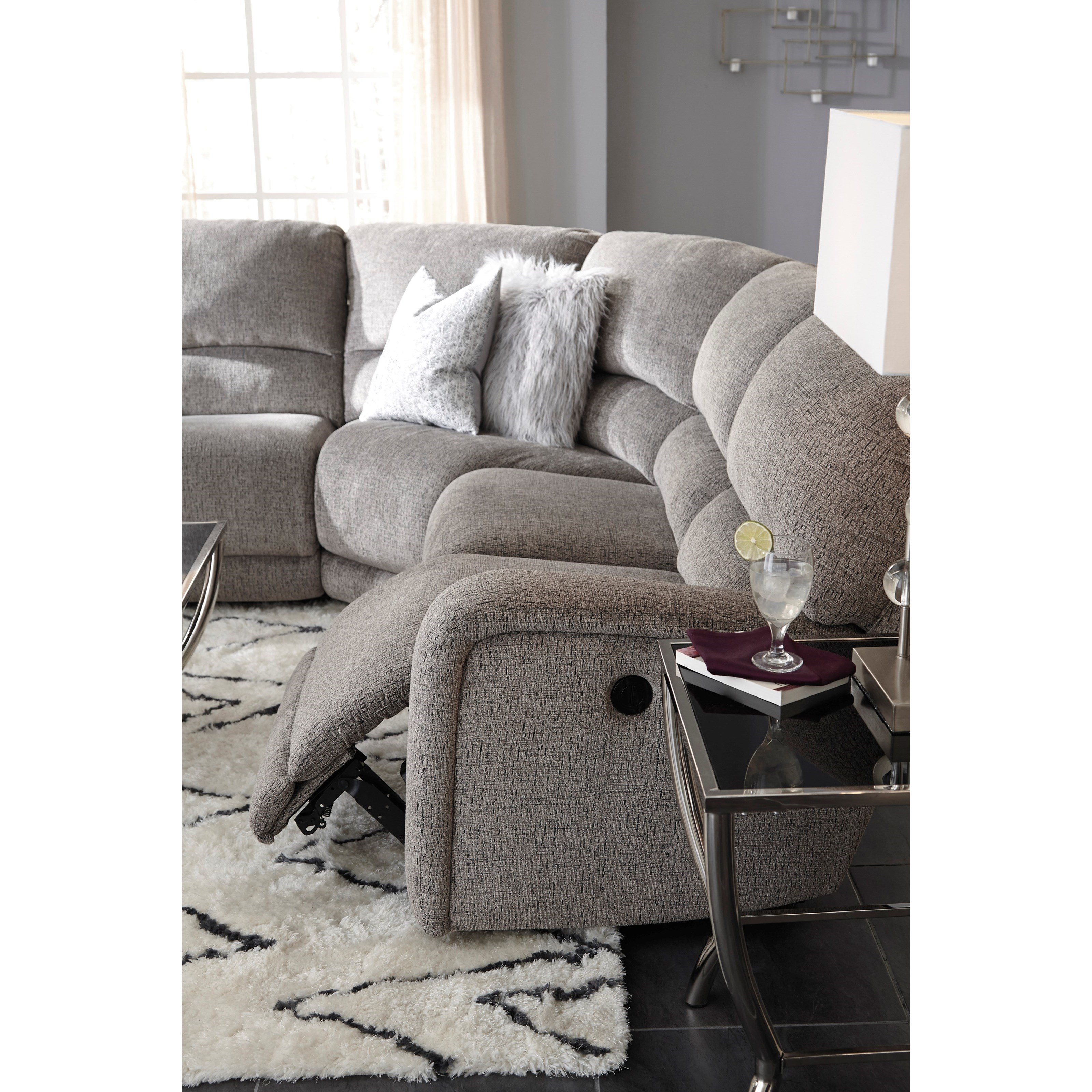 B751 Transitional Reclining Sectional With Storage Console: Del Sol AS Pittsfield Power Reclining Sectional With Left