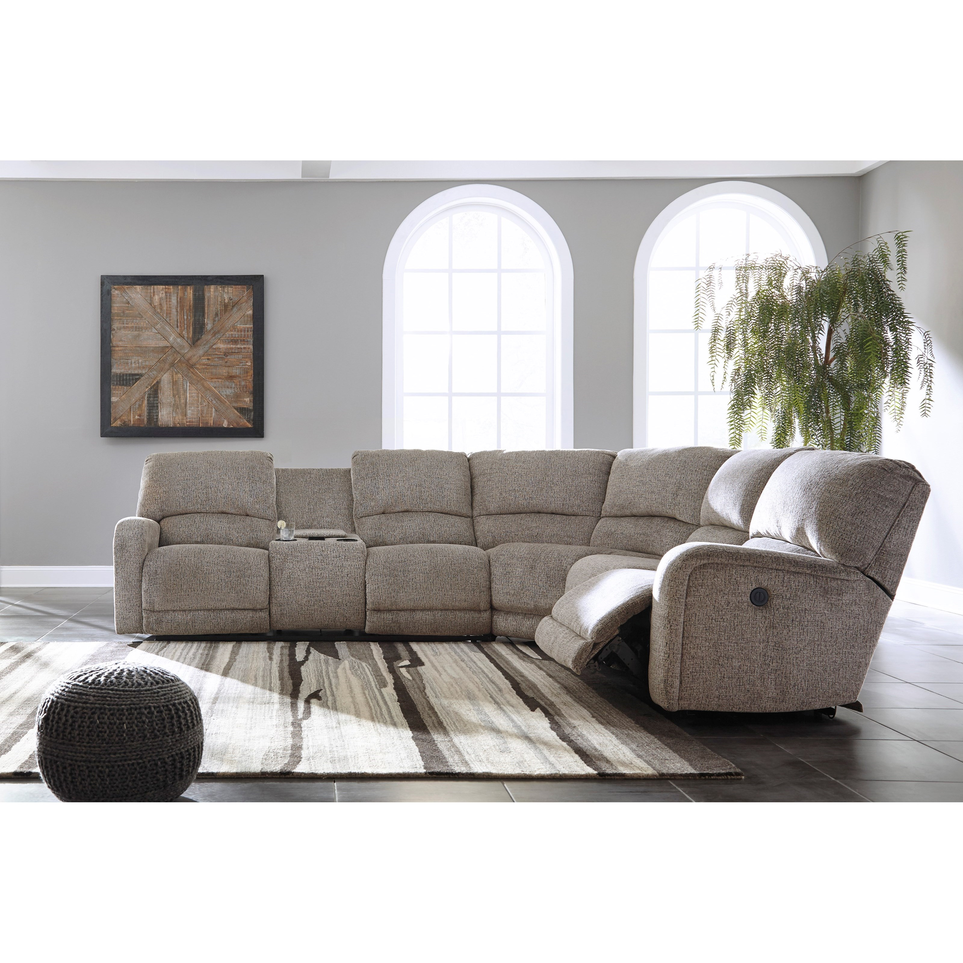 Sectional Sofas With Two Recliners: Signature Design By Ashley Pittsfield Power Reclining