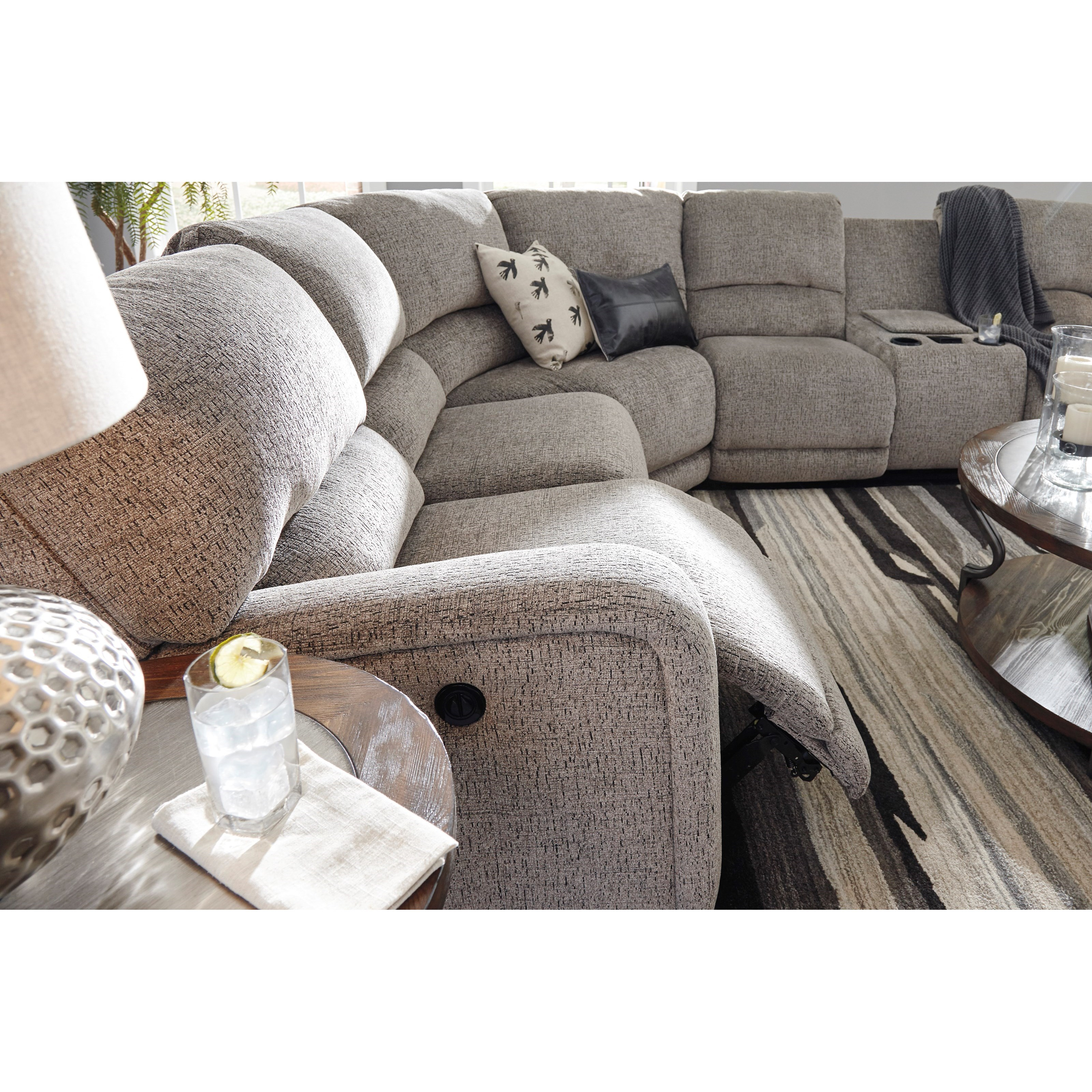 Ashley Signature Design Pittsfield Power Reclining Sectional With Right Storage Console Loveseat Dunk Amp Bright Furniture Reclining Sectional Sofas