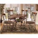 Signature Design by Ashley Plentywood Round Dining Table with Metal Base with Shelf - Shown with 4 Chairs