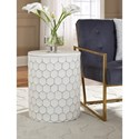Signature Design by Ashley Polly White Metal Indoor/Outdoor Accent Stool with Honeycomb Design