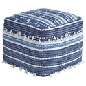 Signature Design by Ashley Poufs Anthony - Blue/White Pouf - Item Number: A1000324