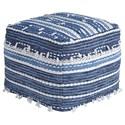 Signature Design Poufs Anthony - Blue/White Pouf - Item Number: A1000324
