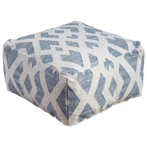 Signature Design by Ashley Poufs Badar - Teal/White Pouf