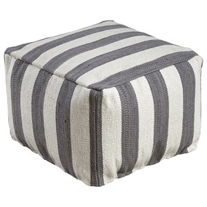 Signature Design by Ashley Poufs Bane - White/Gray Pouf