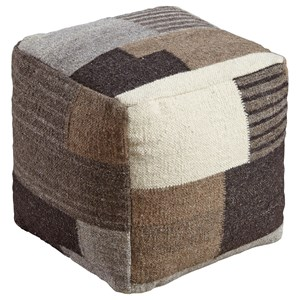 Signature Design by Ashley Poufs Calbert - Black/Brown/Cream Pouf