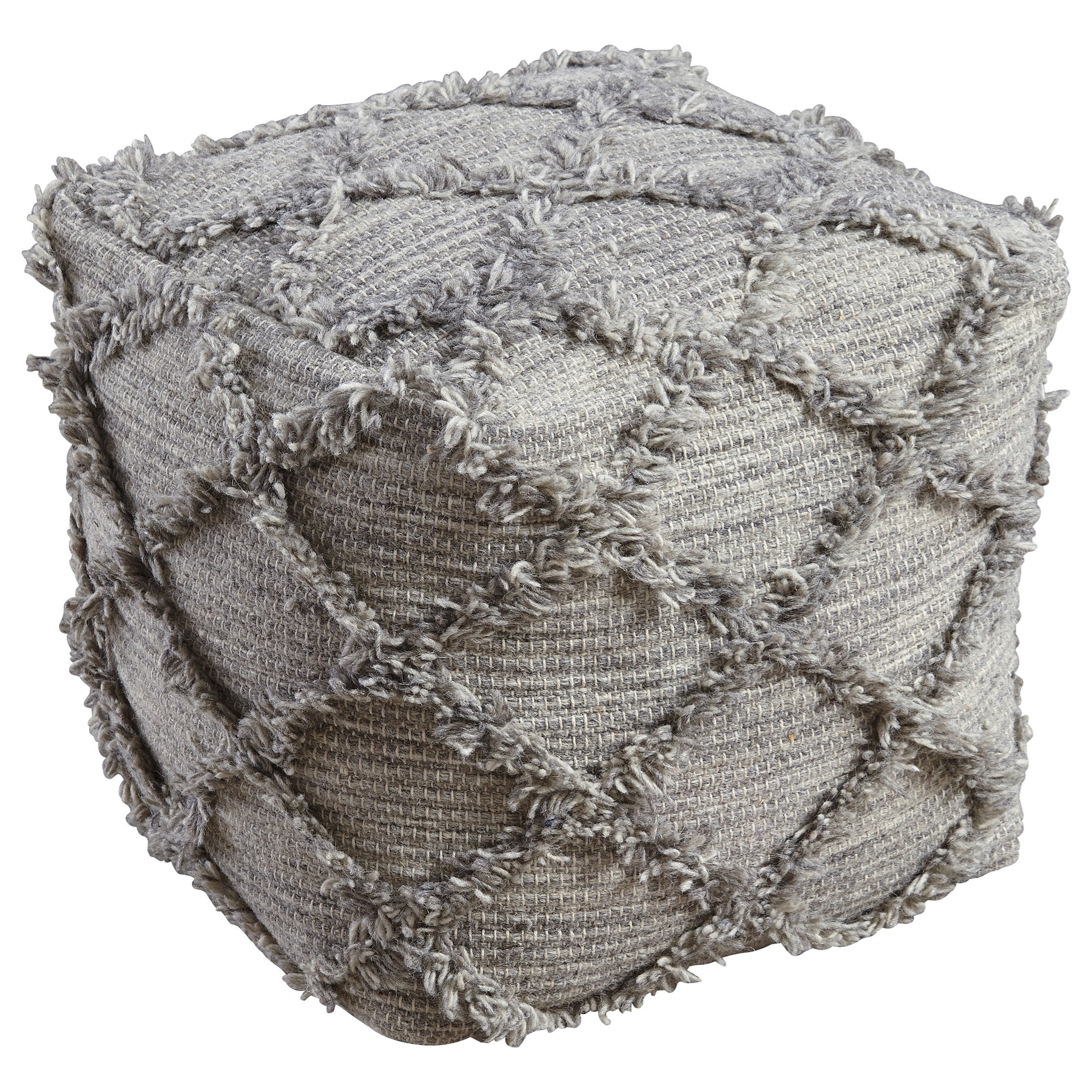 Adelphie - Natural/Gray Pouf