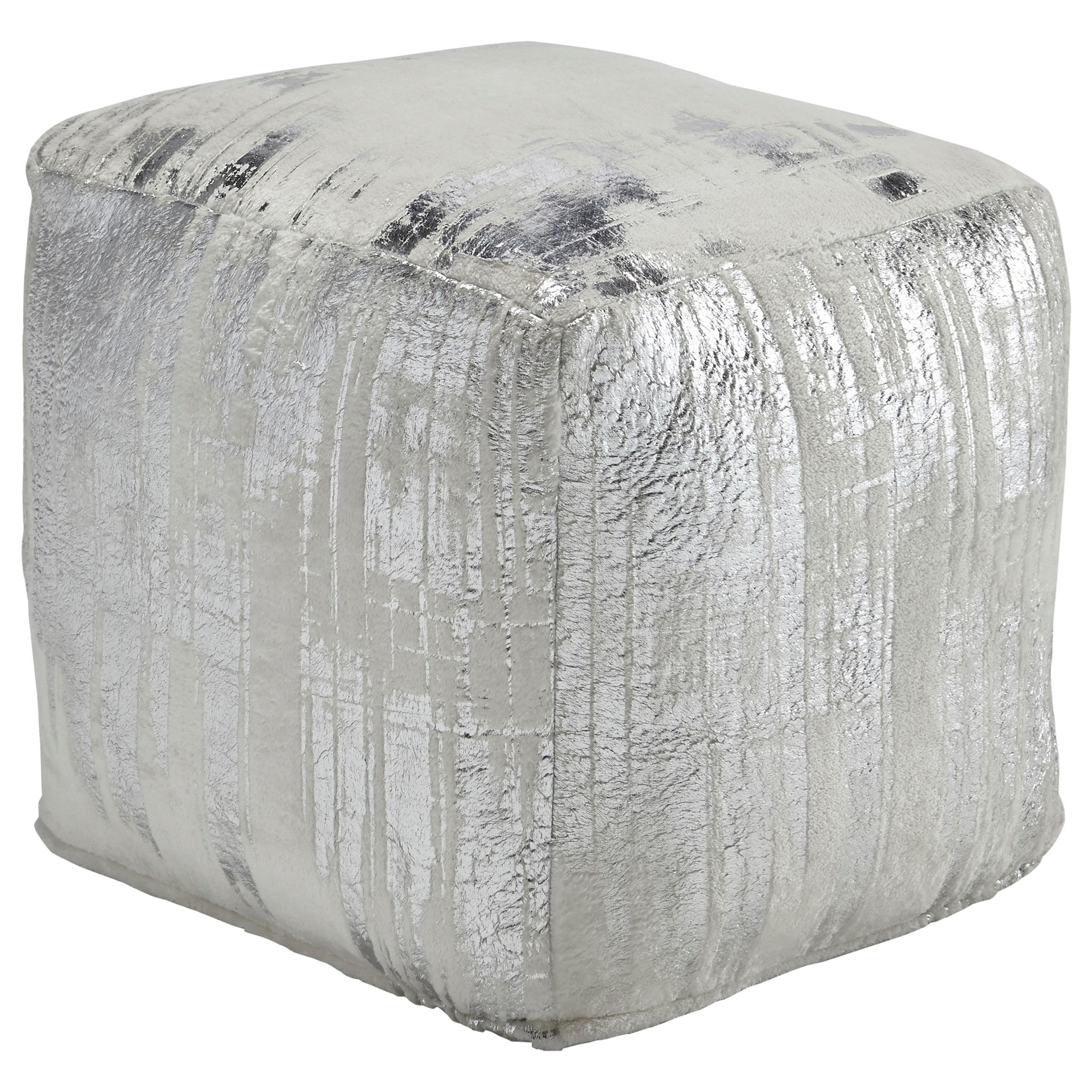 Signature Design by Ashley Poufs Alessandra Ivory/Silver Pouf - Item Number: A1000398