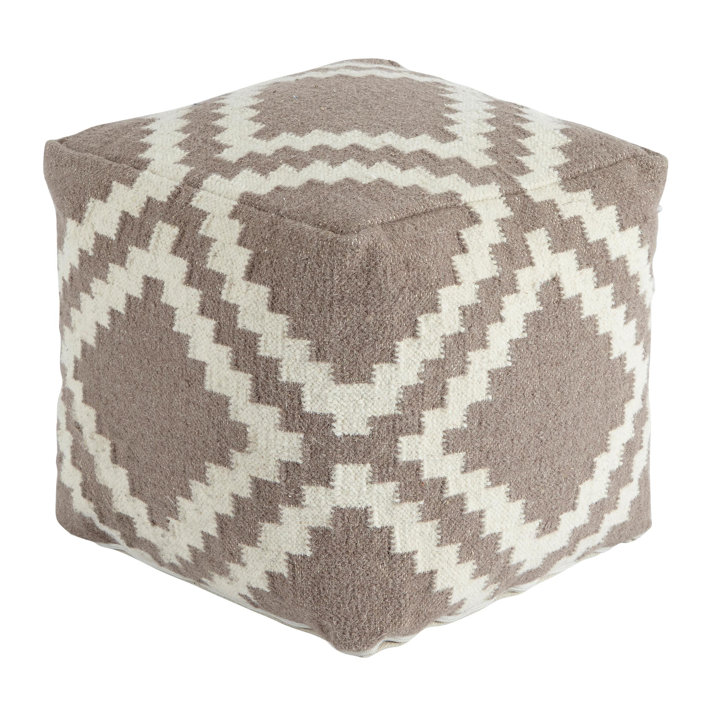 Signature Design by Ashley Poufs Geometric - Gray Pouf - Item Number: A1000418