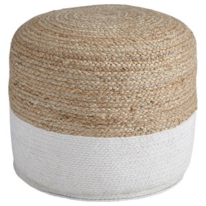 Sweed Valley - Natural/White Pouf
