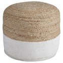 Signature Design by Ashley Poufs Sweed Valley - Natural/White Pouf - Item Number: A1000420