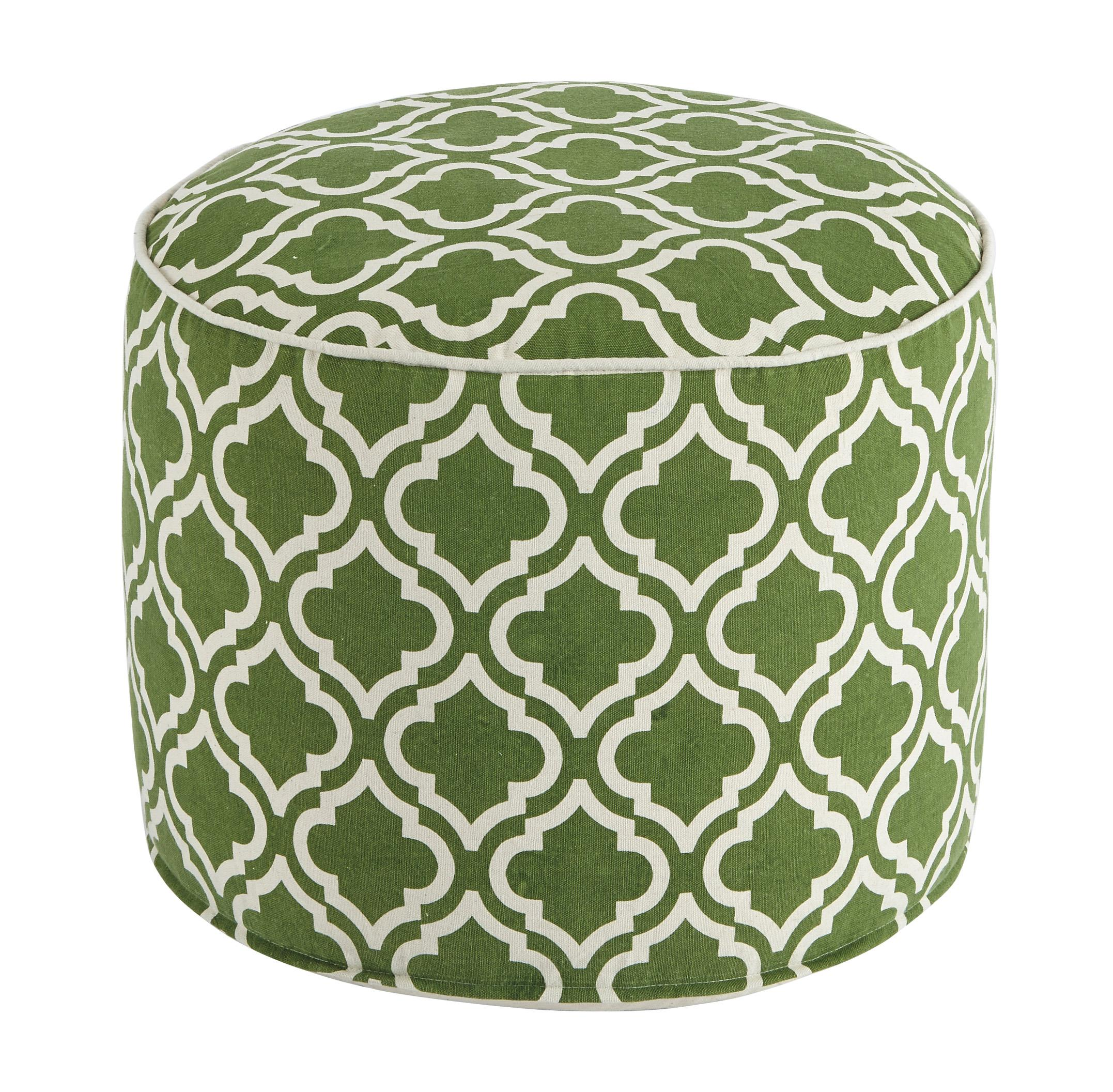 Signature Design by Ashley Poufs Geometric - Green/White Pouf - Item Number: A1000426