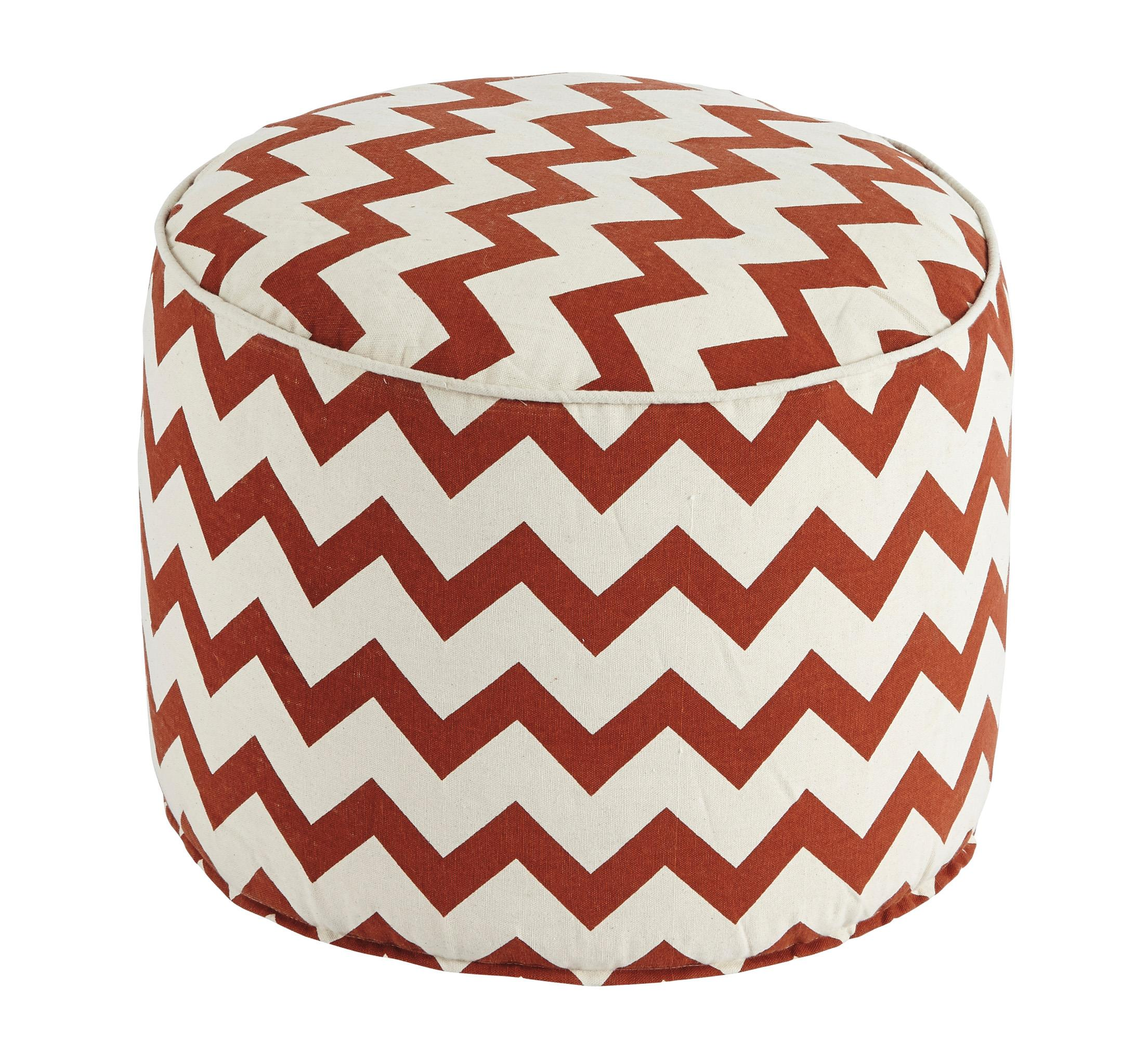 Signature Design by Ashley Poufs Chevron - Beige/Rust Pouf - Item Number: A1000427