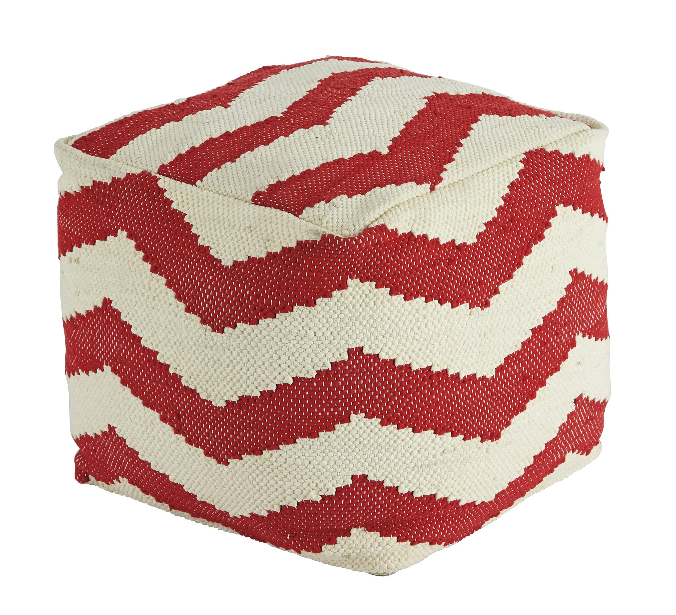 Signature Design by Ashley Poufs Chevron - Red Pouf - Item Number: A1000442