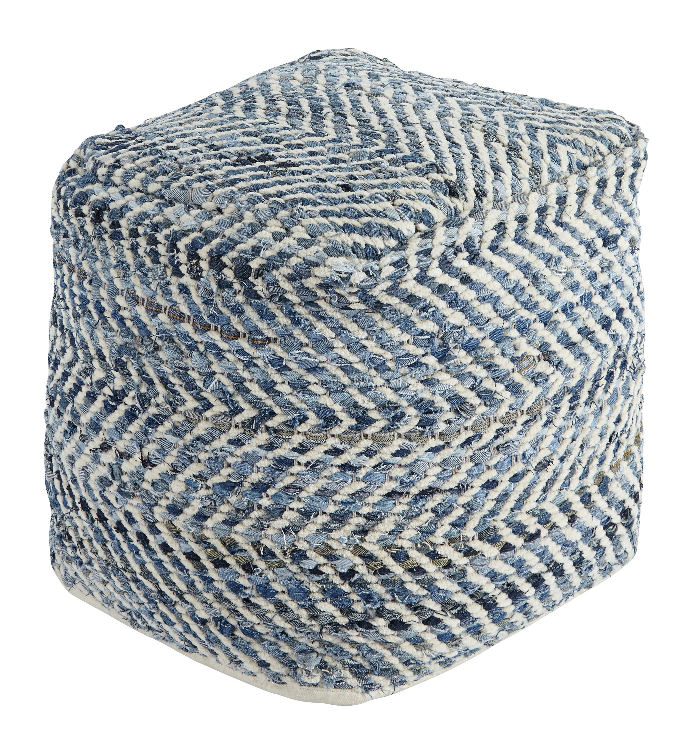 Signature Design by Ashley Poufs Chevron - Blue Pouf - Item Number: A1000445