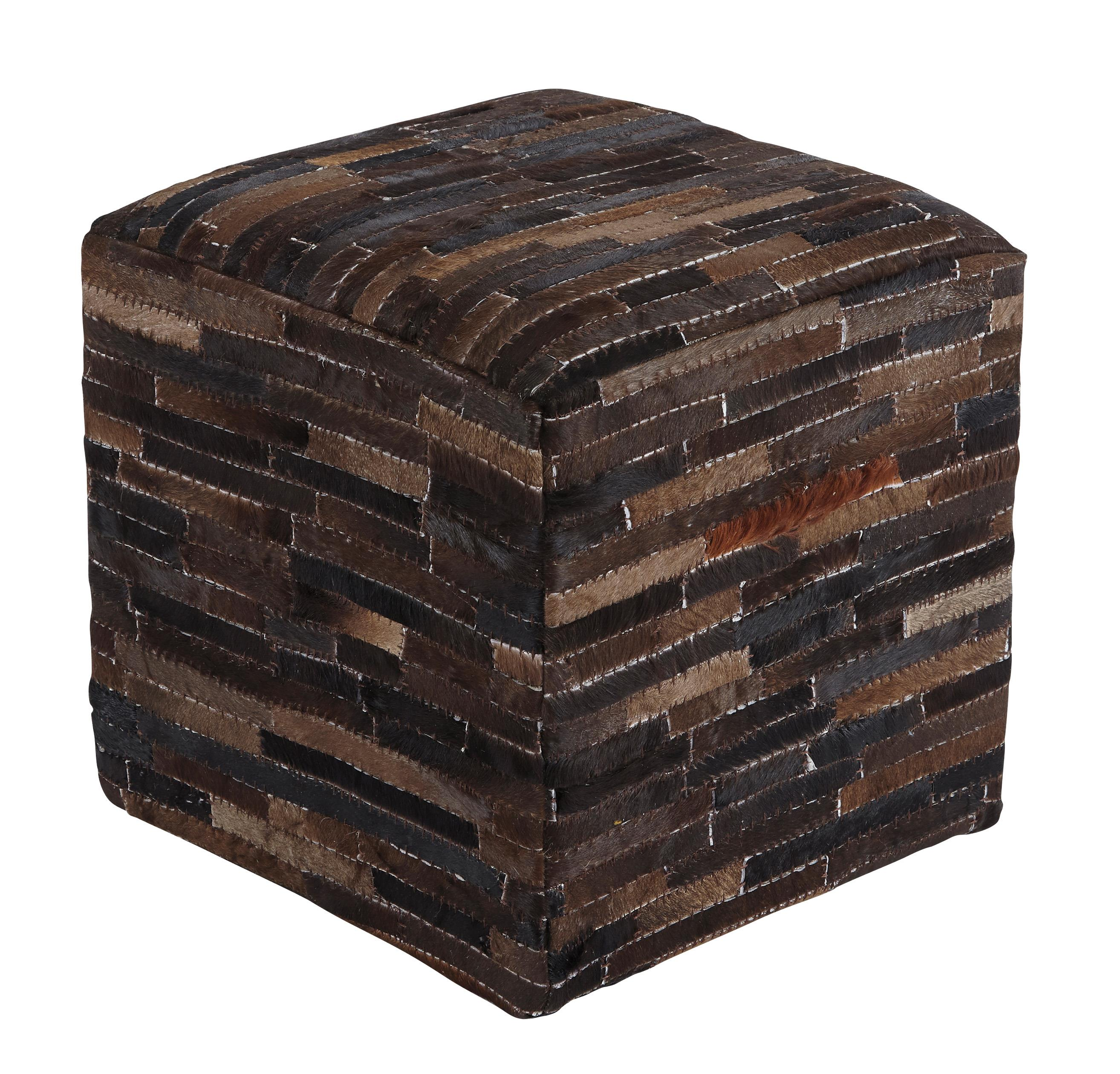 Signature Design by Ashley Poufs Cowhide - Dark Brown Pouf - Item Number: A1000448