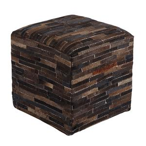 Signature Design by Ashley Poufs Cowhide - Dark Brown Pouf