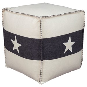 Leonardo White/Black Pouf