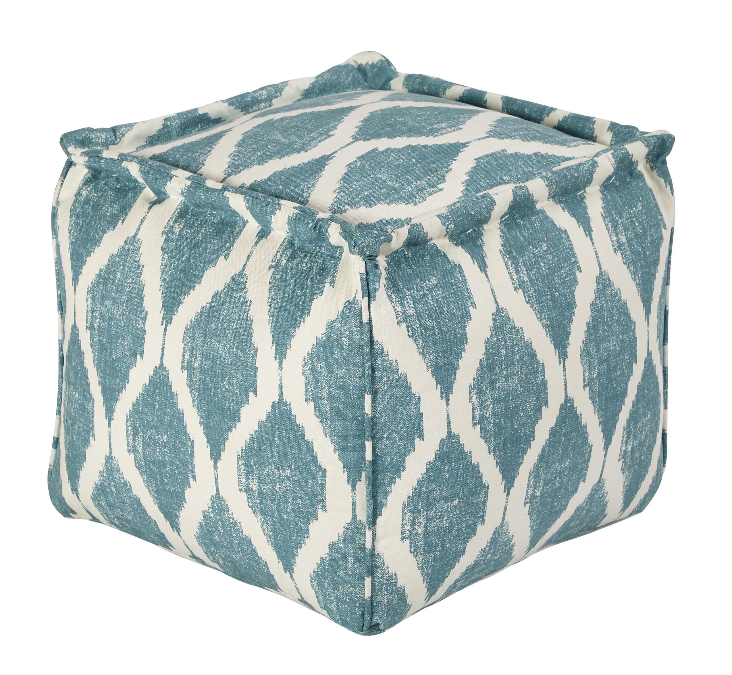 Signature Design by Ashley Poufs Bruce - Teal/White Pouf - Item Number: A1000544