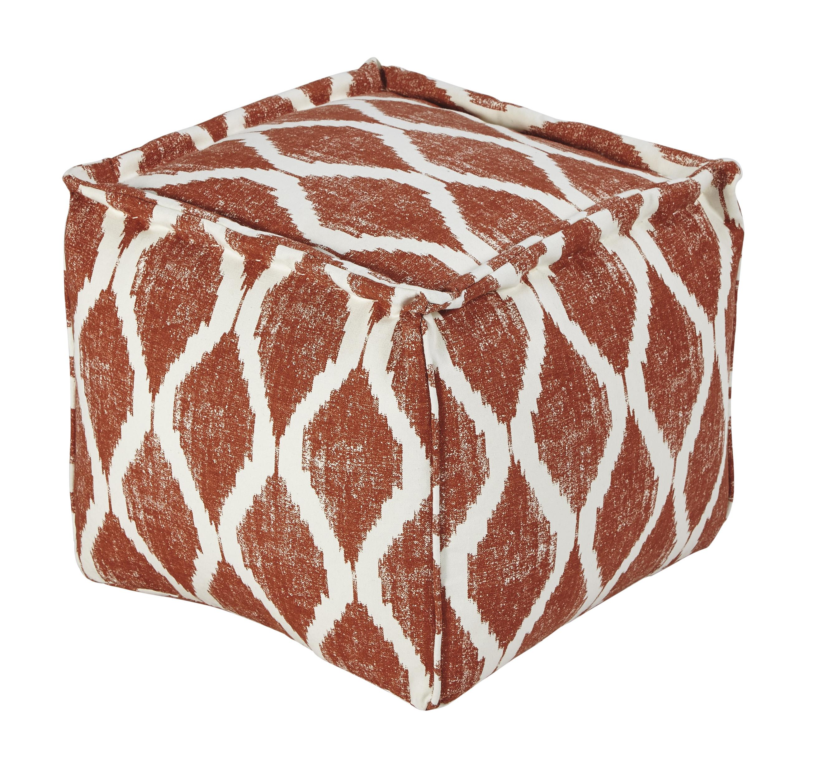 Signature Design by Ashley Poufs Bruce - Orange/White Pouf - Item Number: A1000545