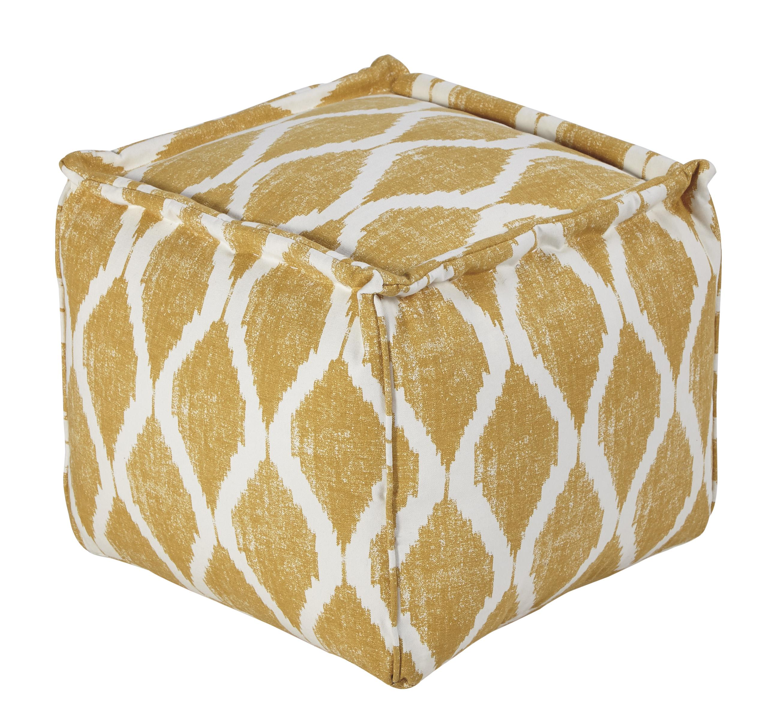 Signature Design by Ashley Poufs Bruce - Yellow/White Pouf - Item Number: A1000547