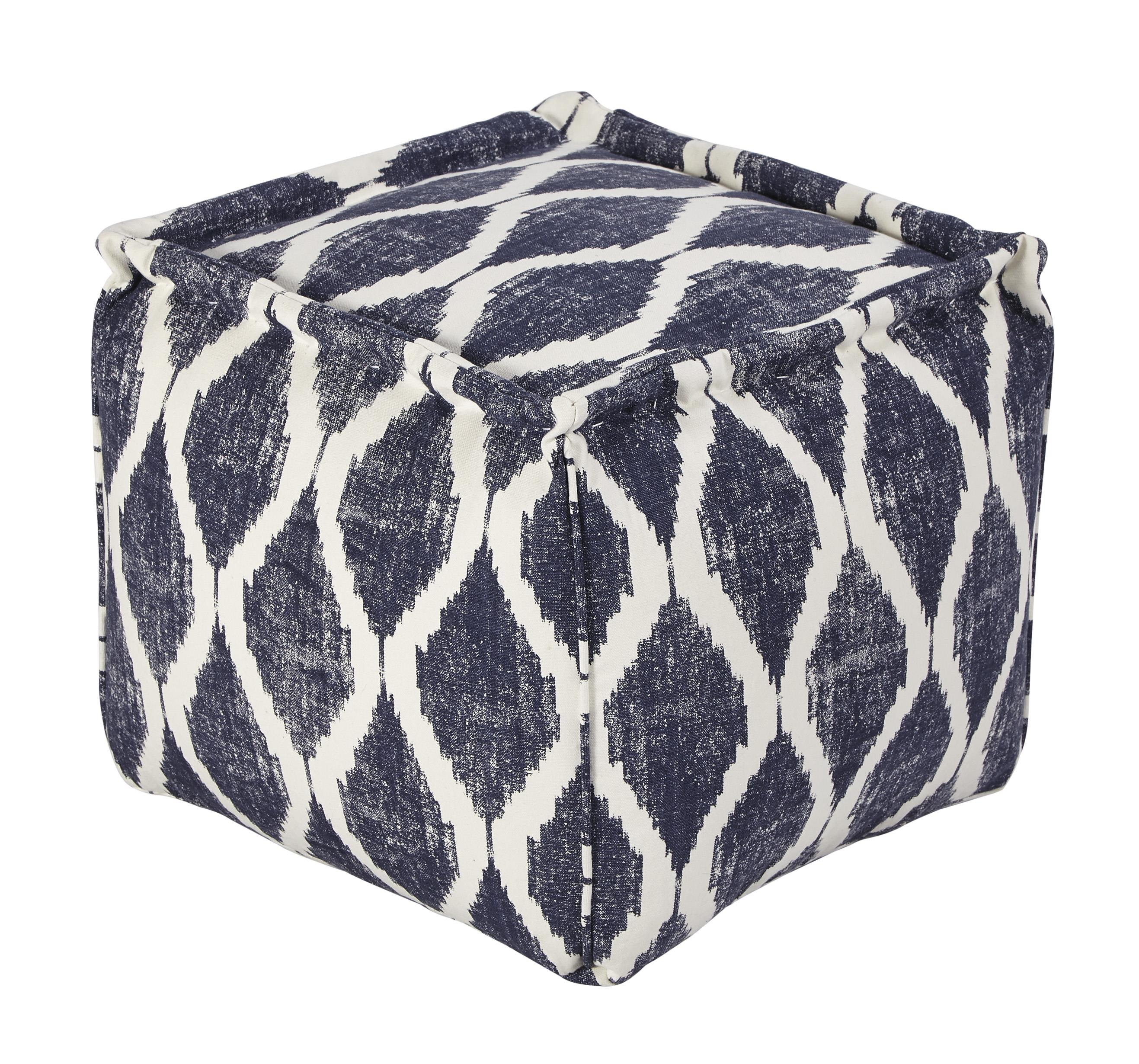 Signature Design by Ashley Poufs Bruce - Ink/White Pouf - Item Number: A1000548