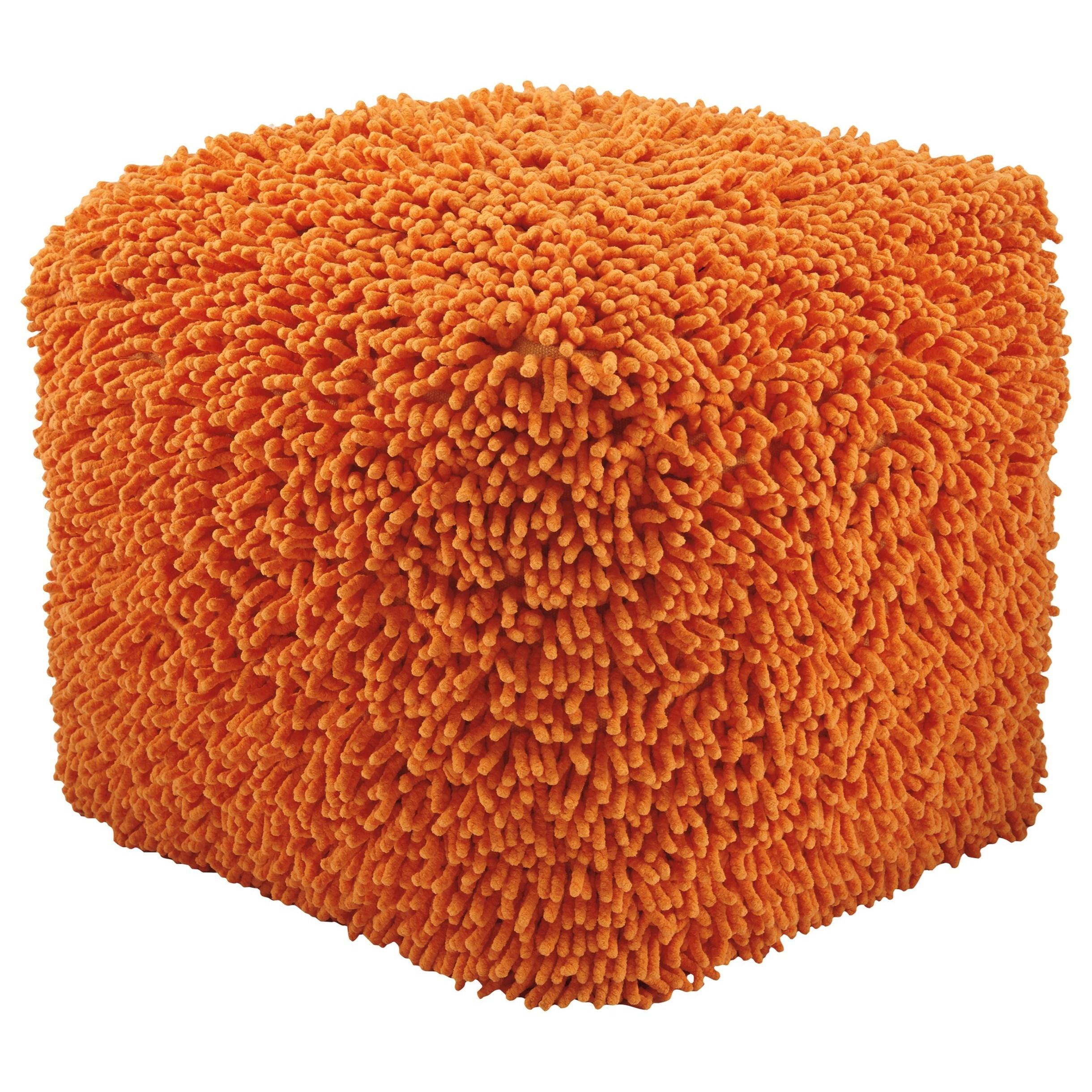 Signature Design by Ashley Poufs Taisce - Orange Pouf - Item Number: A1000561