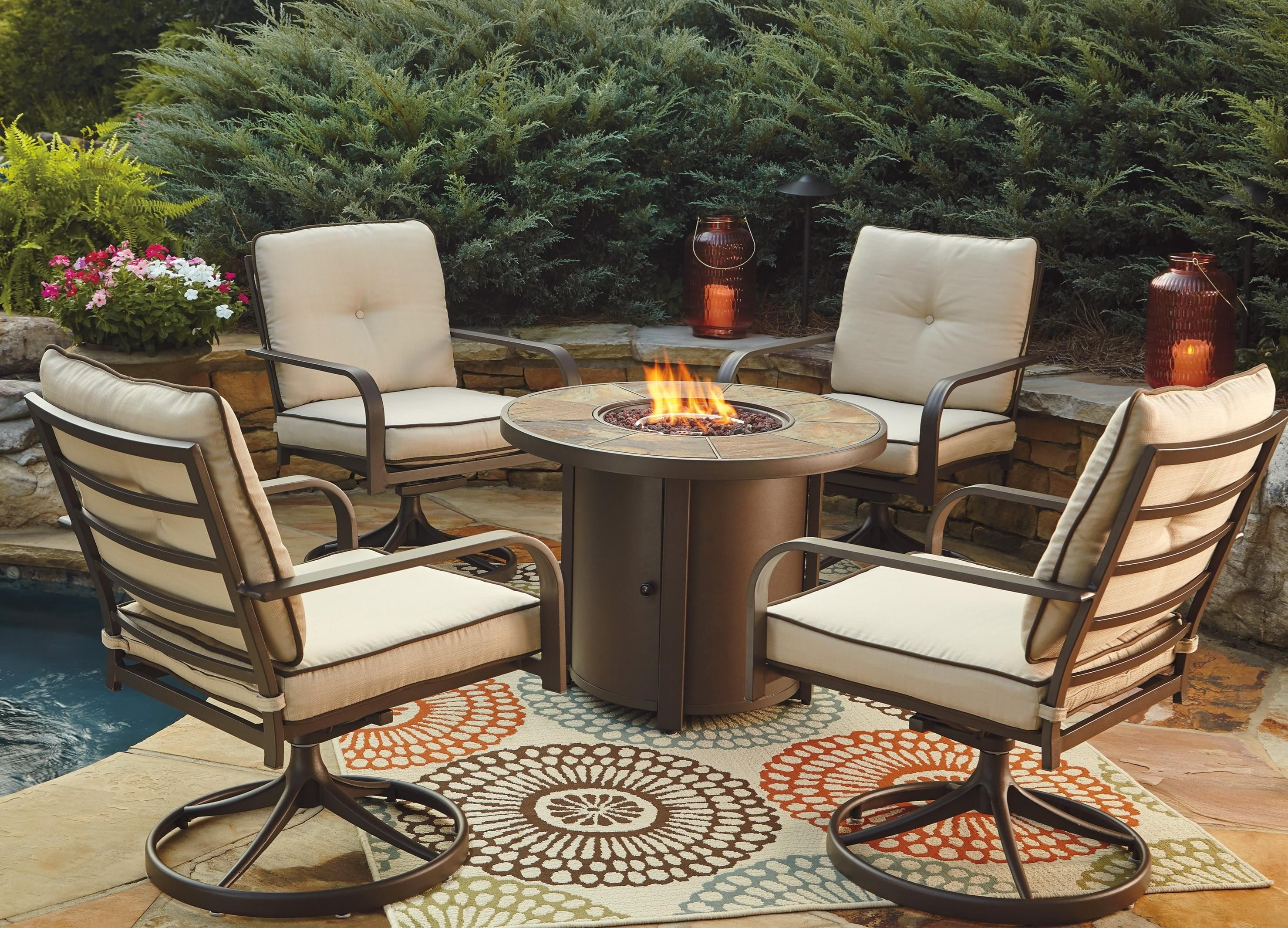 Signature Design by Ashley Predmore 5-Piece Round Fire Pit Table Set - Item Number: P324-776+2x821