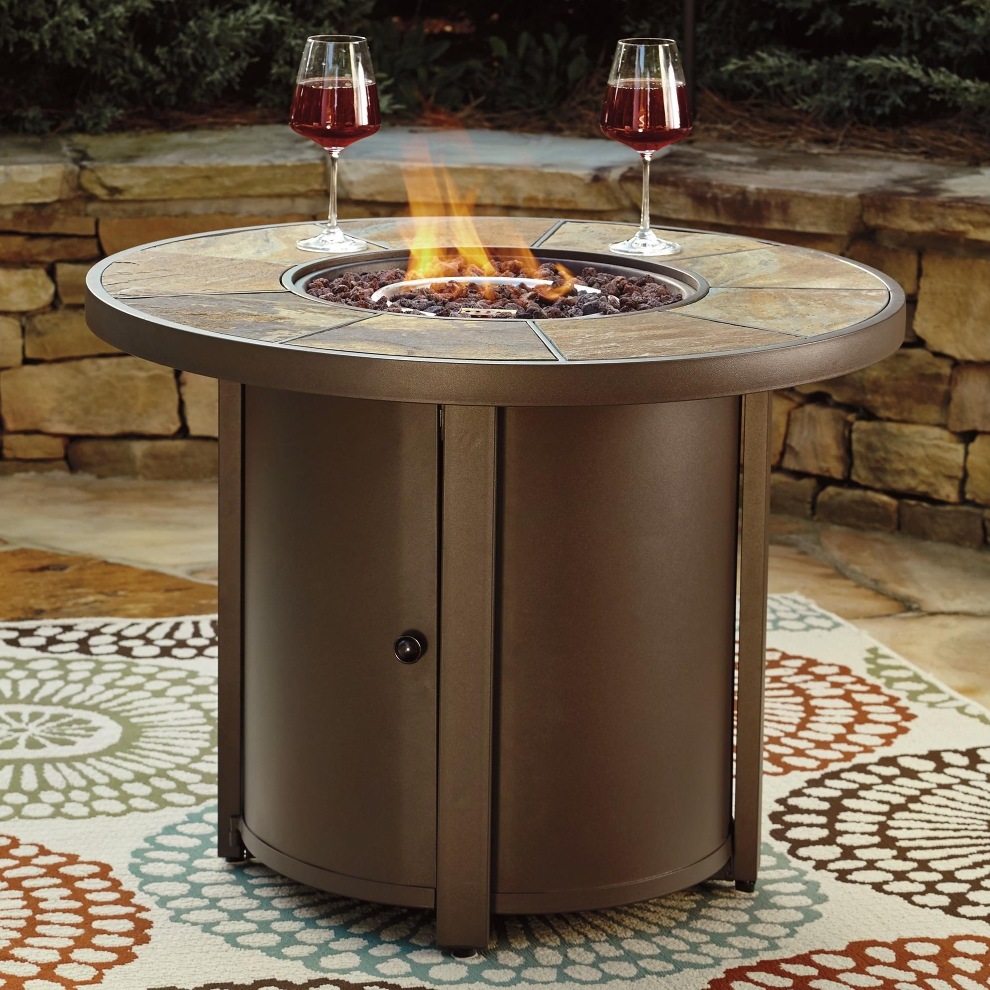 signature design by ashley predmore round fire pit table item number p324776 - Round Fire Pit