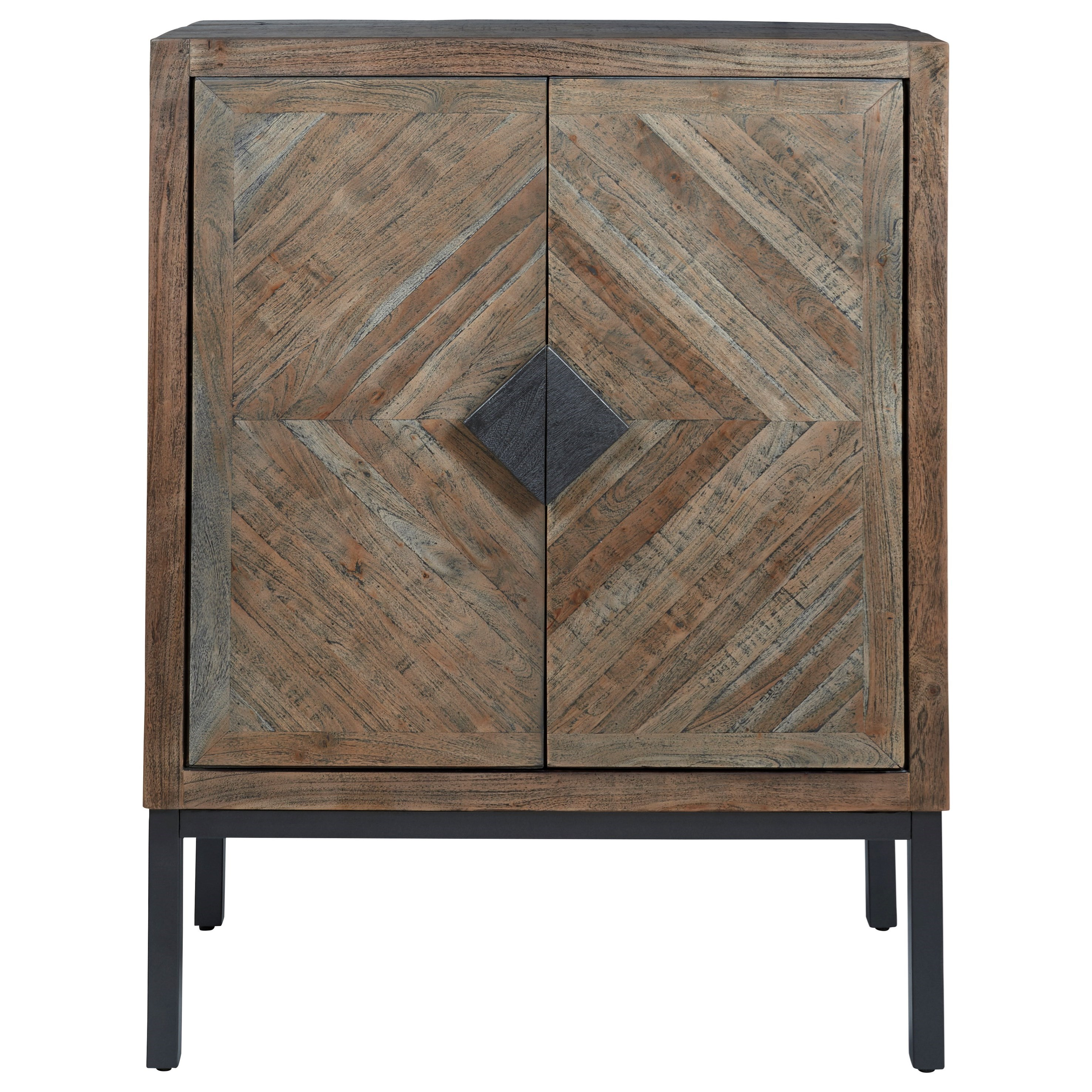 Signature Design By Ashley Premridge Rustic Bar Cabinet With Diamond Pattern Wood Doors And Metal Base Royal Furniture Bar Cabinets