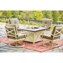 Signature Design by Ashley Preston Bay Outdoor Firepit Table Set - Item Number: P460-772+2x821