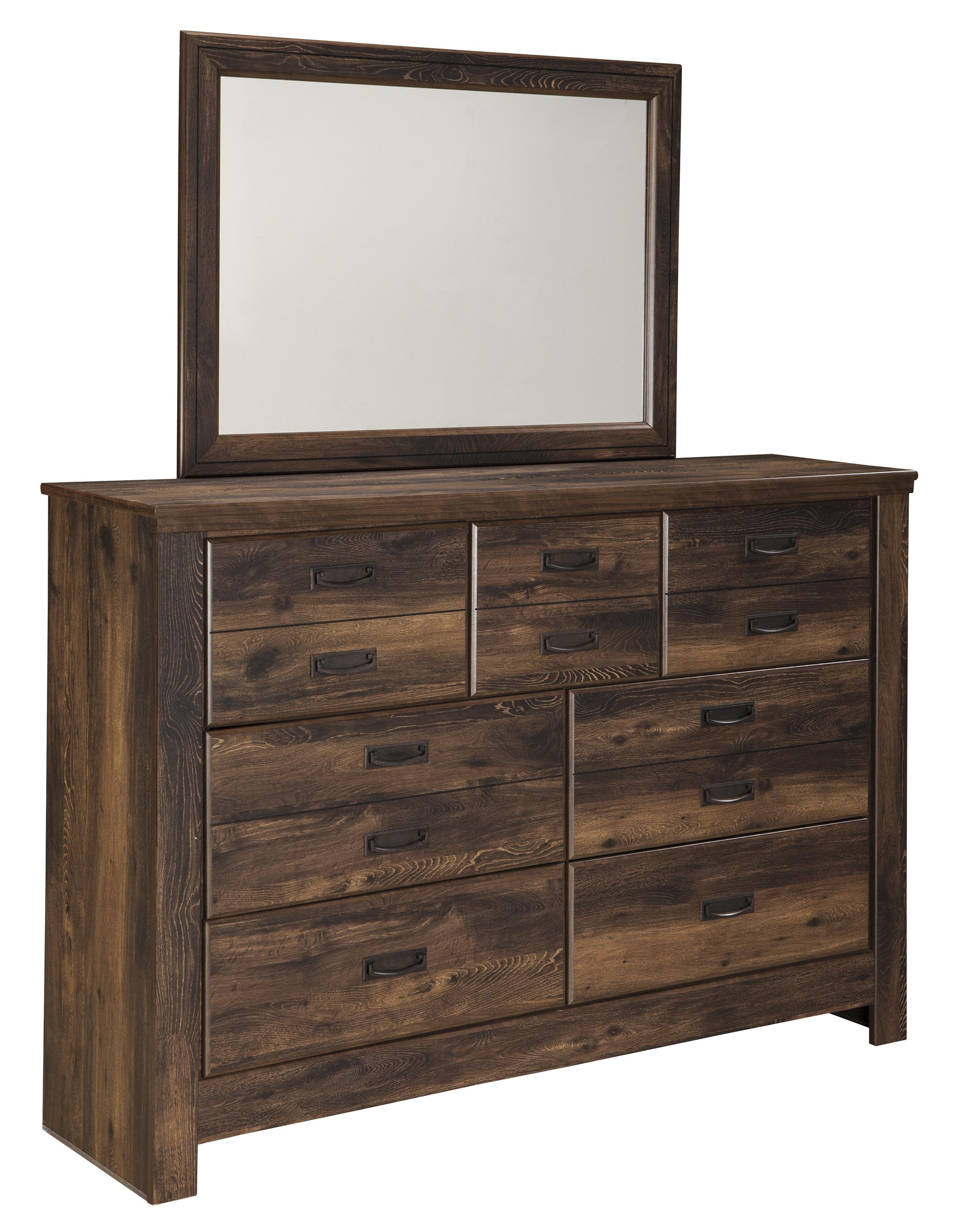 Signature Design By Ashley Quinden Rustic Dresser With 7 Drawers Mirror Wayside Furniture