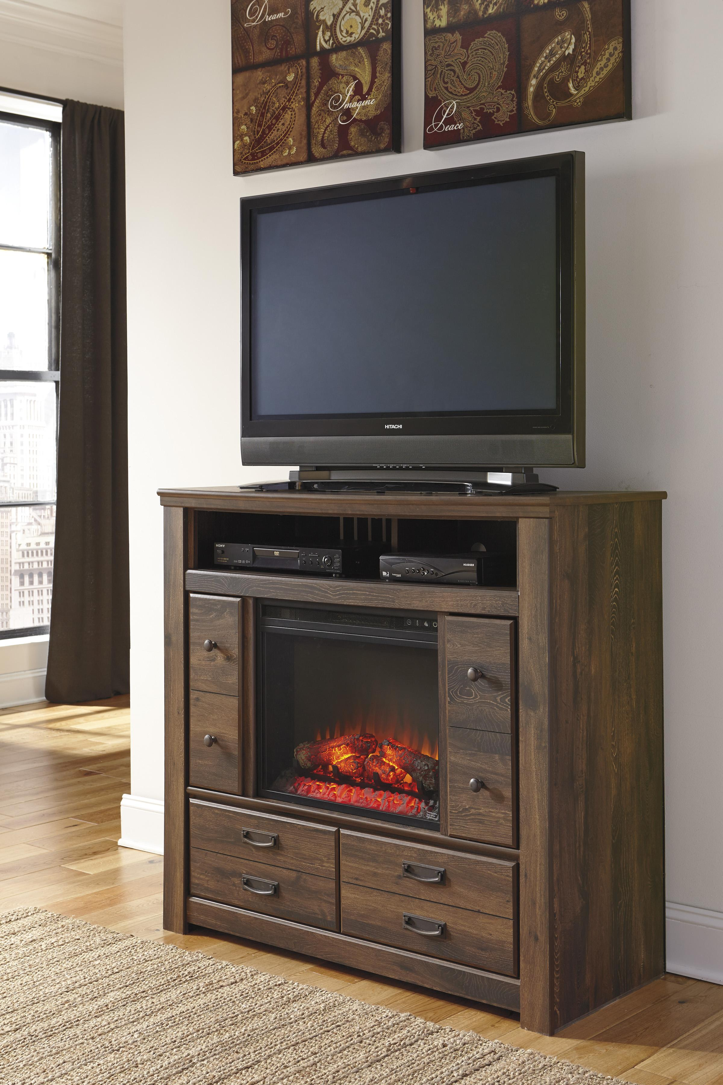 Ashley Signature Design Quinden Rustic Media Chest With Fireplace Insert Doors Dunk Bright