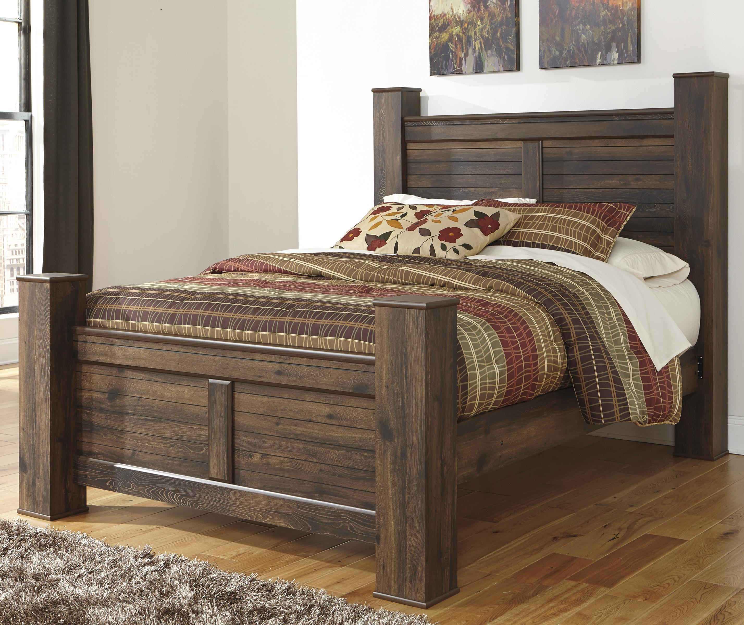 Ashley Signature Design Quinden Rustic Queen Poster Bed Dunk Amp Bright Furniture Panel Beds
