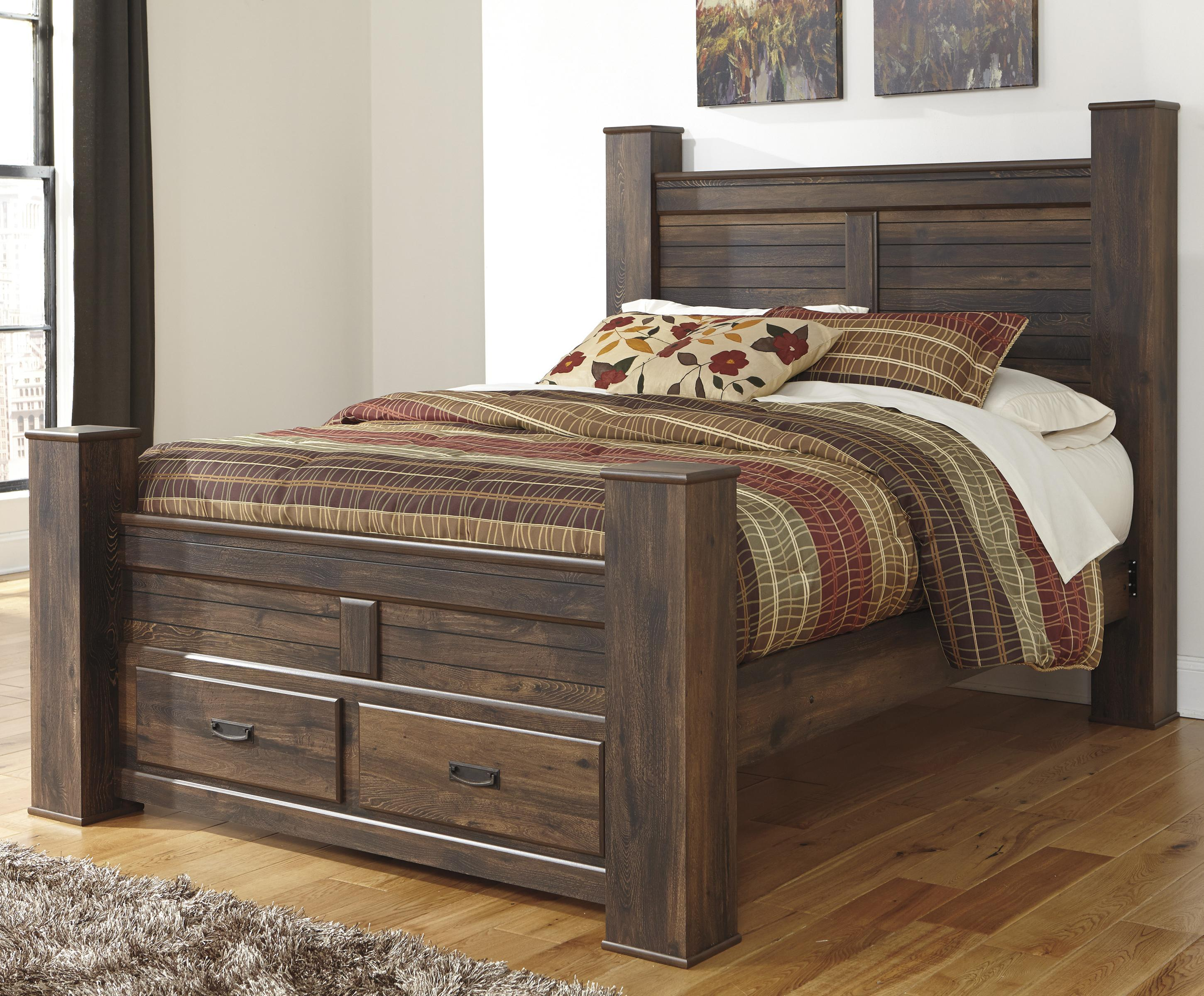 Signature Design by Ashley Quinden Queen Poster Bed with Storage - Item Number: B246-67+64S+61+98