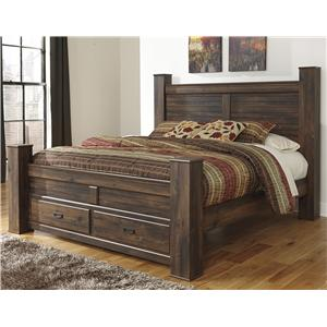Signature Design by Ashley Quinden King Poster Bed with Storage