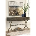 Signature Design by Ashley Quinnland Transitional Console Sofa Table with Medallion Pattern