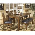 Signature Design by Ashley Ralene 7 Pc Dining Set with Bench - Item Number: D594-35+5x01+00