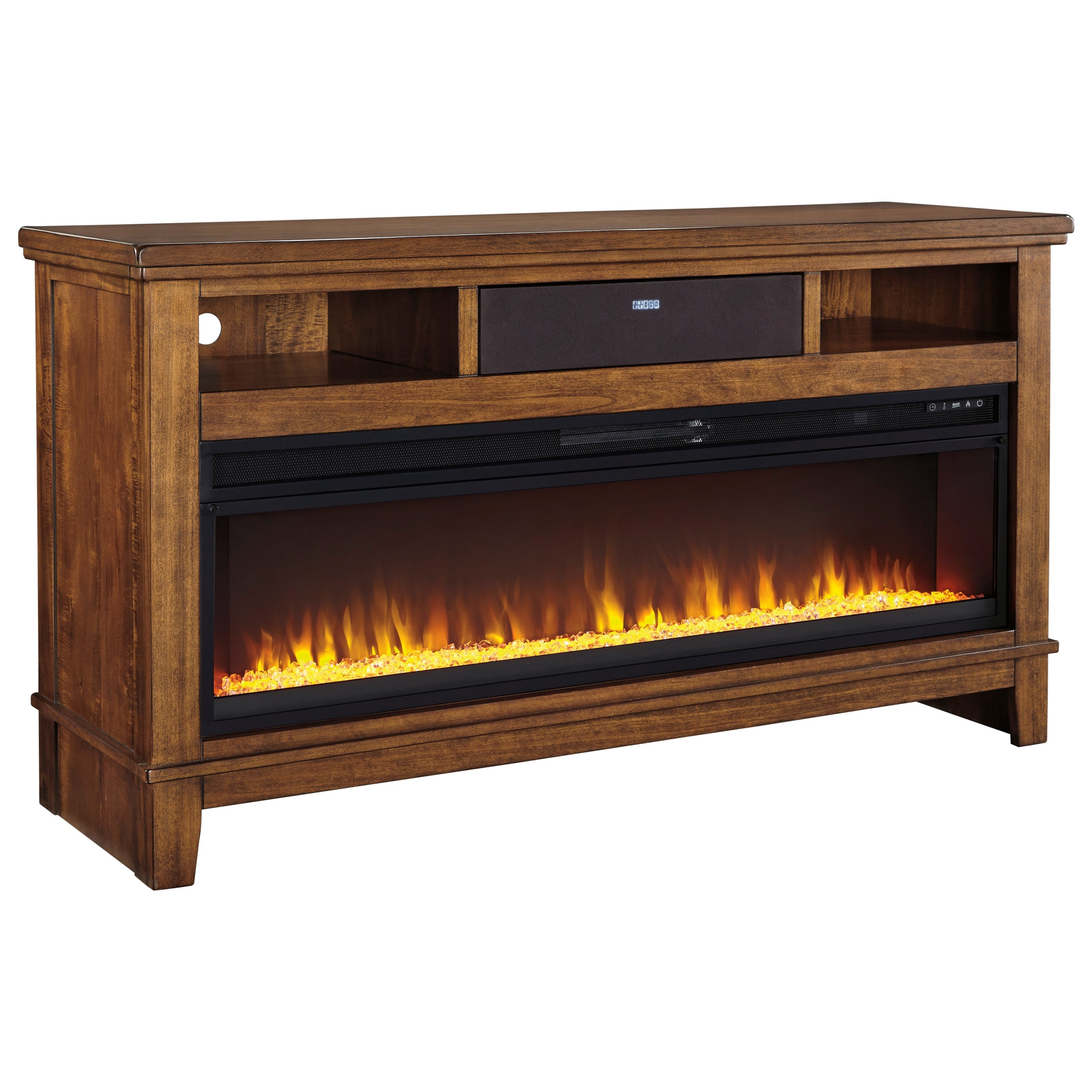 Signature Design by Ashley Ralene TV Stand w/ Fireplace Insert & BT Speaker - Item Number: W594-68+W100-22+31