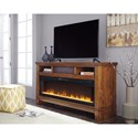 Signature Design by Ashley Ralene Contemporary Extra Large TV Stand w/ Wide Fireplace Insert & Bluetooth Speaker